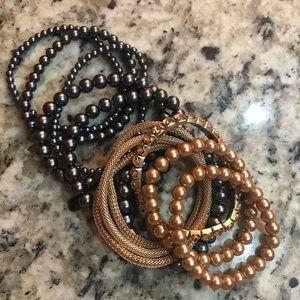 Jewelry - 12 Beautiful Bracelets Gold Black Pearl Rhinestone